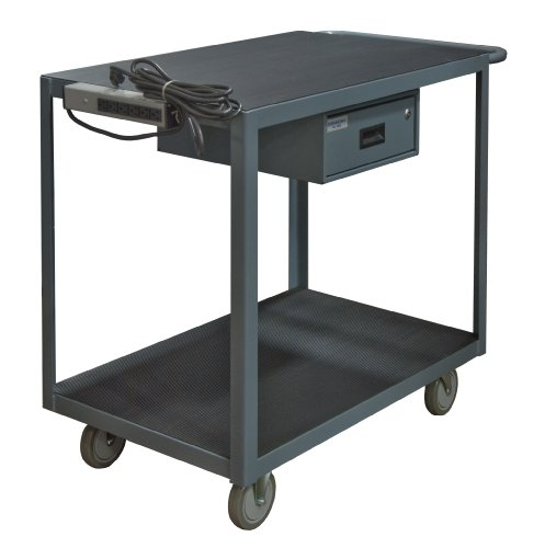 Durham-14-Gauge-Steel-Instrument-Cart-with-Drawer-and-Electrical-Strip-RSIC-2436-2-5PU-95-1200-lbs-Capacity-2-Shelves