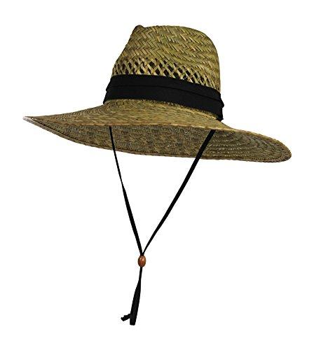 [Vented Straw Lifeguard Sun Hat w/ 4.5-inch-Wide Brim & Chin Strap - One Size] (Straw Farmer Hats)