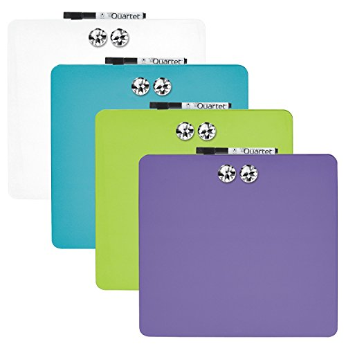 Quartet Tin Square Magnetic Whiteboards, 11.5-Inch x 11.5-Inch, Assorted Colors, 6 Pack (TSQ1212) (Erase Squares Dry)