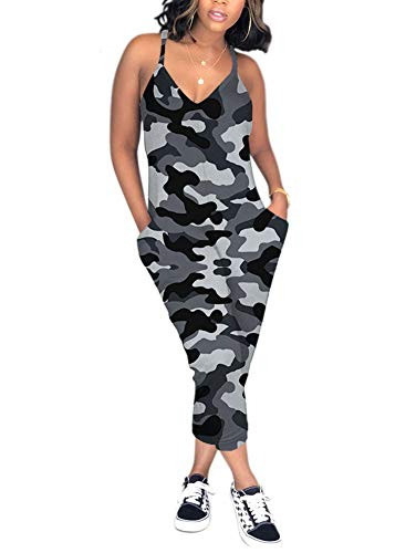 Gray Camouflage - Ophestin Womens Casual Sleeveless V Neck Racerback Plus Size Camouflage Jumpsuit Romper with Pockets Gray Size M