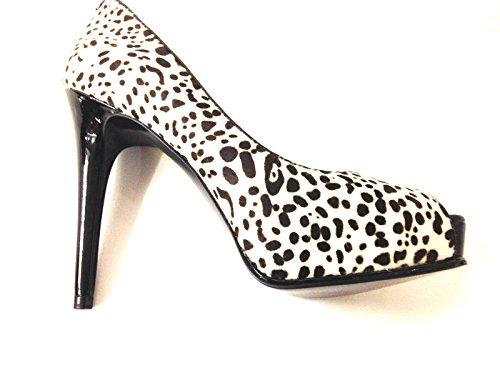 Guess Scarpe Donna Bout Ouvert Mod Honoraly Pelle Animalier Noir & Blanc D15gu37