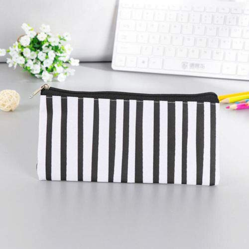 (New 1PC Kawaii Wave Stripes Fabric Pencil Bag Case for Kids Black Makeup Bag (Style -)