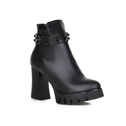 1TO9 Womens Fashion Zipper Pointed-Toe Urethane Boots Black f1TnTWWJ