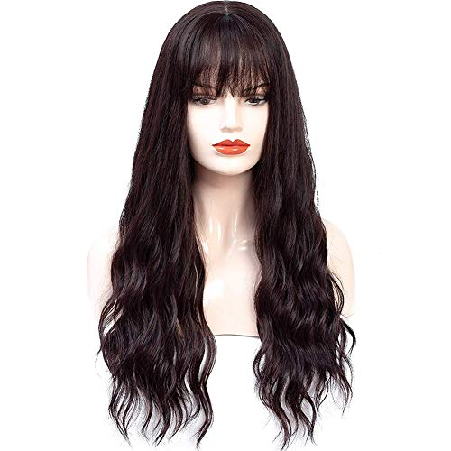 HUA MIAN LI Long Wavy Wig With Air Bangs Silky Full Heat Resistant Synthetic Wig for Women - Natural Looking Machine Made Grey Pink 26 inch Hair Replacement Wig for Party Cosplay Body Wavy (Red Brown)