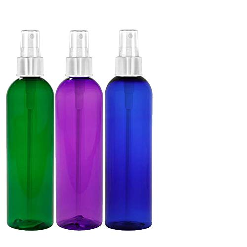 MoYo Natural Labs 8 oz Spray Bottle, Fine Mist Empty Travel Containers, BPA Free PET Plastic for Essential Oils and Liquids/Cosmetics Psychedelic Bottle (3 pack, Multi Color)