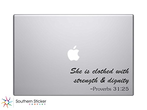 She Is Clothed with Strength and Dignity Text Bible Verse Vinyl Car Sticker Silhouette Keypad Track Pad Decal Laptop Skin Ipad Macbook Window Truck - Verse Decals Bible Laptop