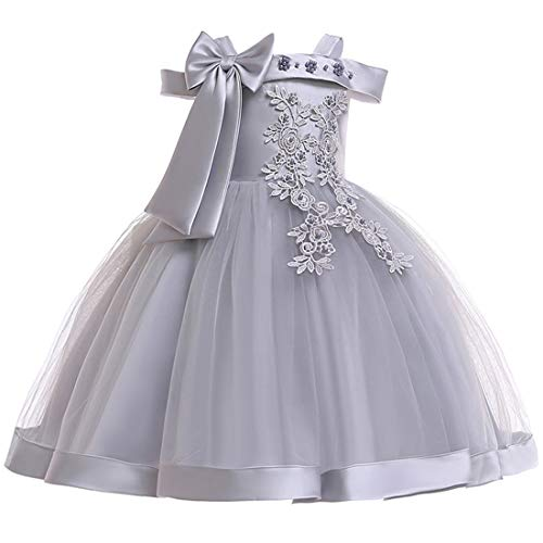 Toddler Girl Dresses 7-16 Special Occasion Formal Prom Ball Gowns 6X Sleeveless Ruffle Tutu Tulle Lace Dress for Wedding Birthday Party Gary Flower Spring Holiday Dress for Childrens (Gray 130)