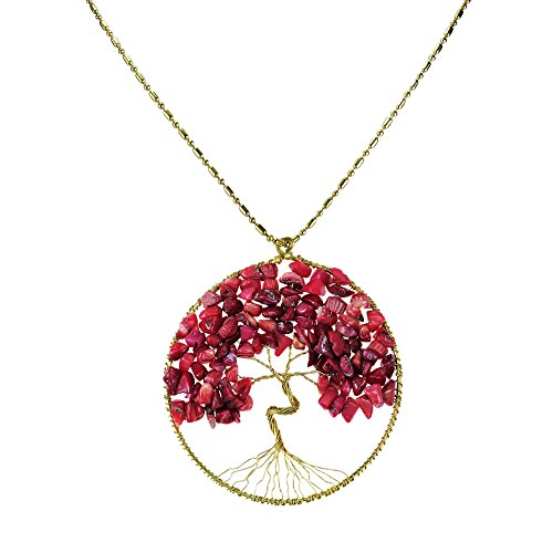 Reconstructed Red Coral Eternal Tree of Life Brass Long Necklace (Coral Pendant Tree)