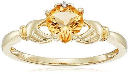 10K Yellow Gold Citrine Heart with Diamond Accent Ring, Size - Citrine Heart Gold