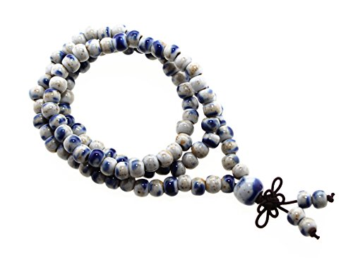 - Happiness Jewelry Bracelet of 108 Beaded Ceramic Fashion Vintage Prayer Mala Three-Row Porcelain Elastic Bracelet (Antique Brass)