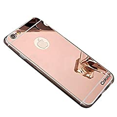 Iphone 7 and 8 Mirror Back Shock-Absorption TPU Bumper Protective Case (Rose Gold)