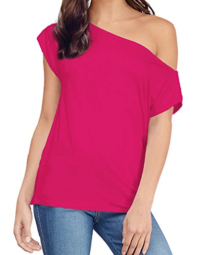 Women's Casual Off Shoulder Lose Sexy Short Sleeveless Blouse Tops T Shirt Rosered XL