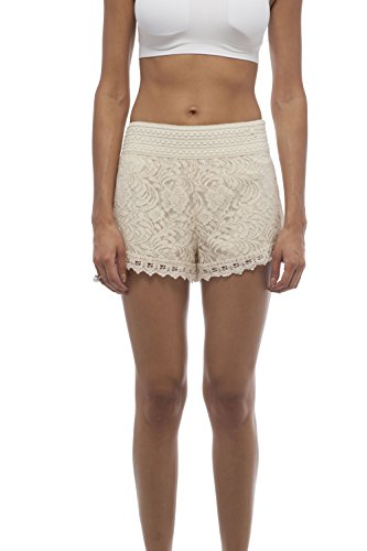with Lining Contrast and Crochet Trim Elastic Waist (Small, Ivory) ()