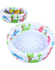 Baby Pool, 3 Circles Round Swimming Pool, Mini Blow Up Pools for Kids, Portable Children Inflatable Pool, Lightweight Cute Dinosaur Pool for Backyard Indoor Outdoor Bathroom Beach