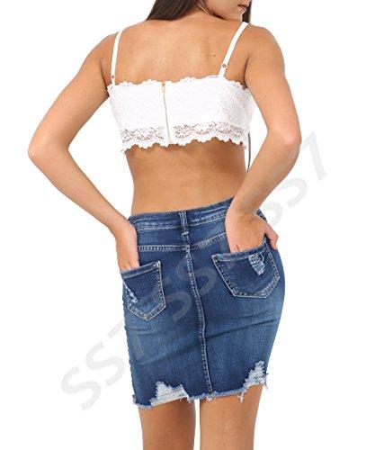 Bleu effiloche Femmes Taille afflig Bleu Jupe pour Denim Femmes SS7 Milieu 34 42 Jupes Milieu Rip q8U4OxwYw
