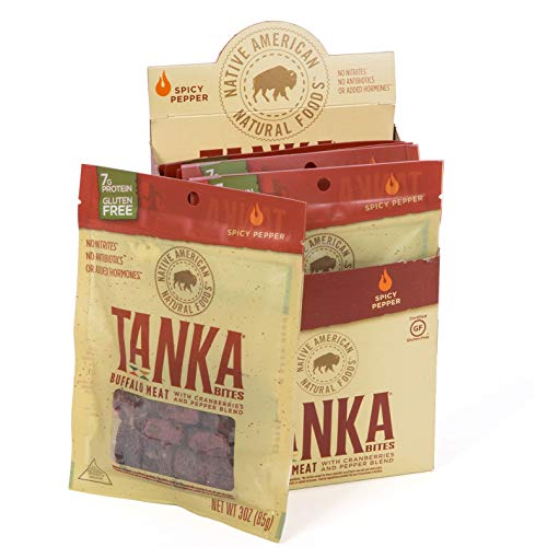 Bison Pemmican Meat Bites with Buffalo & Cranberries by Tanka, Gluten Free, Beef Jerky Alternative, Spicy Pepper, 3 Oz, Pack of 6 (Packaging May Vary)