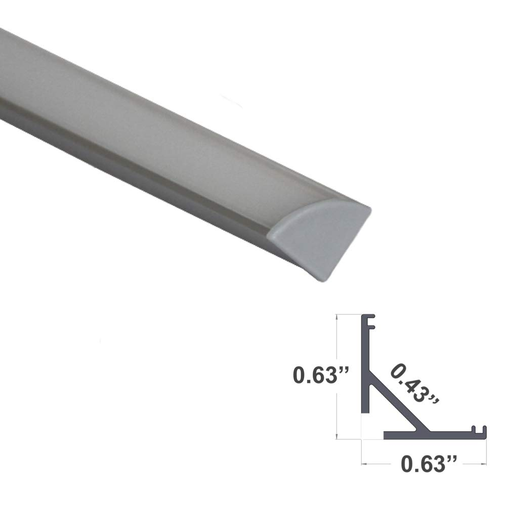 964 Series LED Profile Extrusion Upto 11mm//0.44 Wide LED Strip Light 2.4Meter End Caps and Mounting Accessories LEDPROFILES 5-Pack 8ft V Shape Corner LED Aluminum Channel with Frosted Diffuser