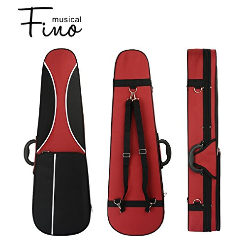 4/4 Full Size Violin Case,FINO Professional Triangular Shape Violin Hard Case,Super Lightweight Portable Carrying Bag Slip-On Cover with Backpack Straps,Red and Grey by FINO