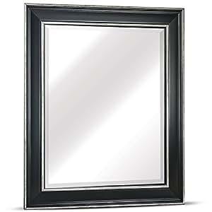 "Millennium Art Camden Medium Rectangle Antiqued Framed Beveled Wall Bathroom Vanity Mirror - Black (25"" H x 21"" L x 0.75"")"