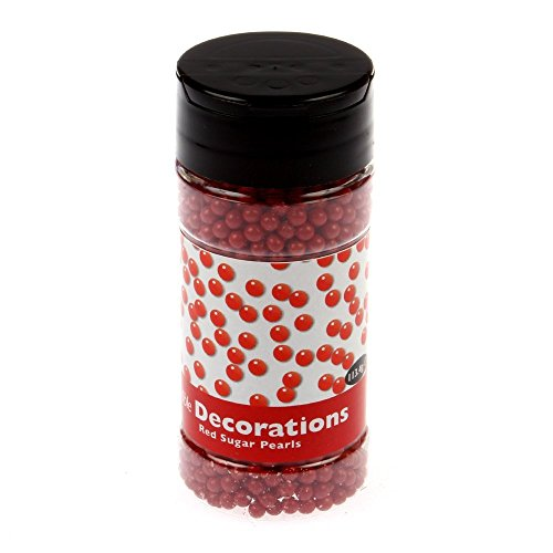 PME Edible RED 4MM Sugar Pearls Balls Cup Cake Decoration 100G (Red Edible Sugar Pearls)