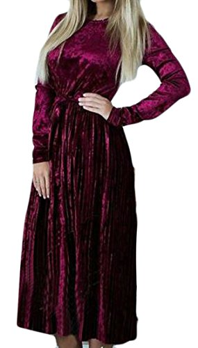 Red Velour Flare Dresses Solid Pleated Cruiize Casual Womens Long Sleeve Fq6gwIz5