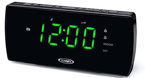 Jensen Compact AM/FM Dual Alarm Clock Radio with Large Easy to Read Backlit LED Display