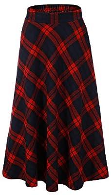 Vocni Women A-Line Casual Wool Blend Plaid Midi Dress Flared Skirt