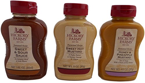 - Hickory Farms Gourmet Sauces 3 Pc Set Sweet Sour Honey Pineapple Mustard and Sweet Hot Mustard