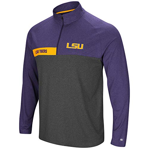 Colosseum Jacket - Colosseum Men's NCAA-No Mercy-1/4 Zip Pullover Windshirt-LSU Tigers-Heather Purple-Large