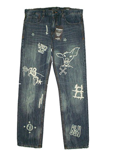 Rocawear Blak Straight Fit Mens Blue Denim Jeans Size 32 X 32 New $128 ()