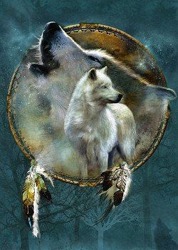 aa21cc409a Image Unavailable. Image not available for. Color  Royal Plush Extra Heavy  Queen Size Mink Blanket - Spirit Wolf ...
