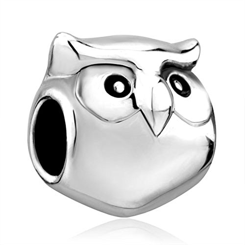 Silver Plated Pugster Cute Owl Animal Bead Fits Pandora