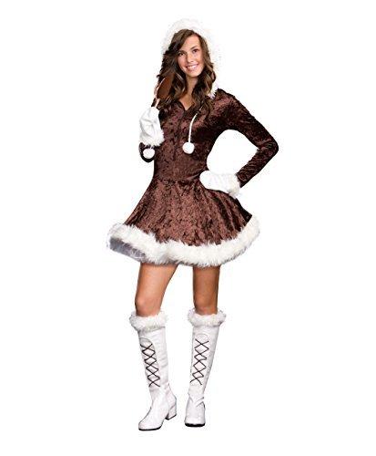 sugar-sugar-by-dg-brands-cute-furry-hooded-juniors-teen-costume-eskimo-cutie-pie-brown-x-small