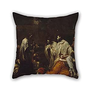 Pillow Cases 20 X 20 Inches / 50 By 50 Cm(2 Sides) Nice Choice For Bedding Pub Home Office Boys Chair Teens Boys Oil Painting Giuseppe Maria Crespi (Italian (Bolognese) - Bernard Tolomei And The Pl