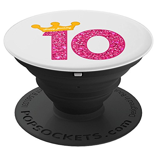 Happy Birthday Art, Girls 10th Party 10 Years Old Bday - PopSockets Grip and Stand for Phones and Tablets