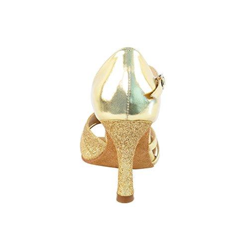 Scarpe Da Ballo Molto Fini 6030 (grado Da Competizione) 2.5 Tacco Oro Stardust E Pelle Oro
