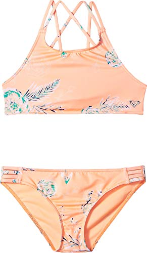 Roxy Big Darling Girl Crop Top Swimsuit Set, Souffle Flowers in The air Southwest, 14