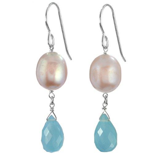 (ASHANTI Aqua Blue Aqua Chalcedony Briolette and Pink Freshwater Cultured Pearl Natural Gemstone Handmade Earrings)