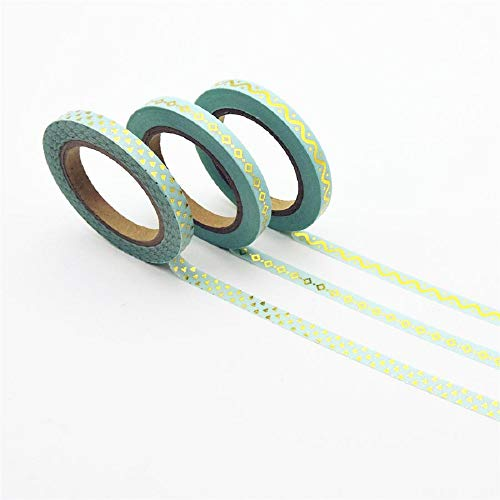 3Pcs/Set Foil Washi Tape Quality Stationery DIY Scrapbooking Photo Album School Tools Kawaii Scrapbook Paper Stickers Gift (Green) ()