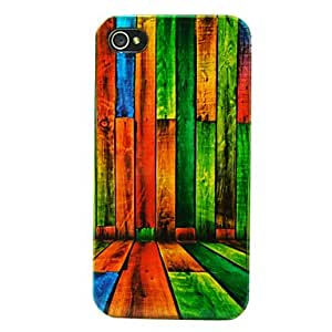 Colorful Wood Board Grain Back Case for iPhone 4/4S