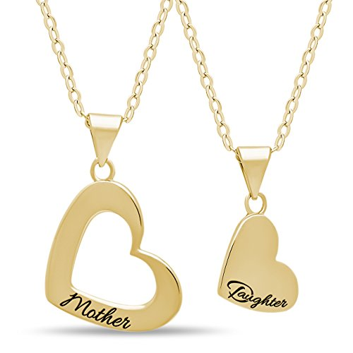 925 Sterling Silver Mother Daughter Heart Necklace Set for Mom and Daughter - Engraved 14K Gold Plated Heart Necklaces for Mother Pendant Double Heart Necklaces for Daughter ()