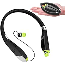[Patrocinado] Audífonos Bluetooth Dostyle, banda para cuello de tres capas, inalámbricos, audífonos de diadema estéreo aptX, con earbuds retráctiles y micrófono (12horas de tiempo de conversación, Bluetooth 4.1, a prueba de sudor)