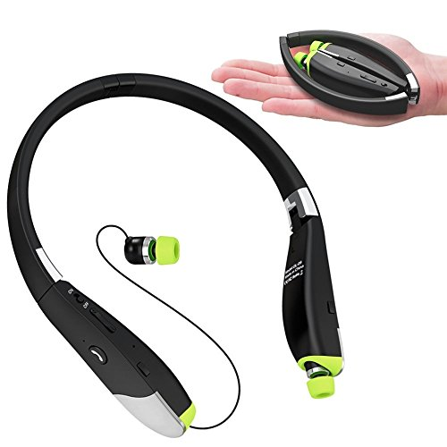 Dostyle Bluetooth Headphones, Tri-fold Wireless Neckband Headset HD Stereo Earphones with Retractable Earbuds and Mic (12 Hours Talk Time, Bluetooth 4.1, Sweatproof) FBA_DSGL08