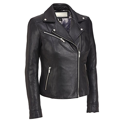 Wilsons Leather Womens Polished Classic Lamb Cycle Jacket S Black