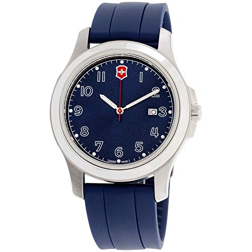 Victorinox Garrison Blue Dial Silicone Strap Men's Watch - Swiss Army Blue Watch Dial