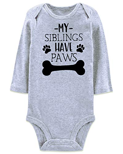 1/2 Birthday Gift Onesie Cute Announcement Reveal Romper My Siblings Have Paws Footprint Bone Clothes for Unisex Baby Kid Child Neice Nephew Granddaughter Grandson, 6 Months