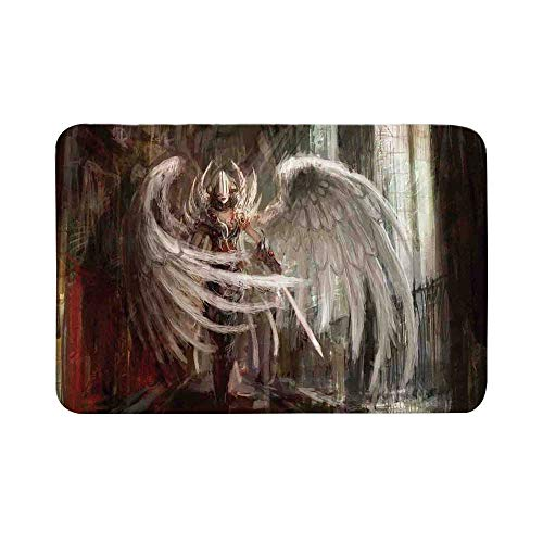 C COABALLA Fantasy Decor Durable Door Mat,Cyborg Angel Girl Warrior with Sword in Gothic Ancient Historical Architecture Decorative for Living Room,19.6