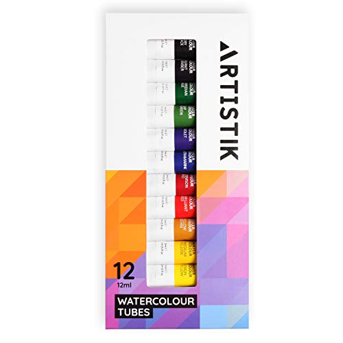 Watercolour Paint Set - Professional Watercolor Paints Set and Painting Kit for Artists Highly Pigmented and Great for Variety of Different Scenes and Mediums (Pack of 12 Tubes)
