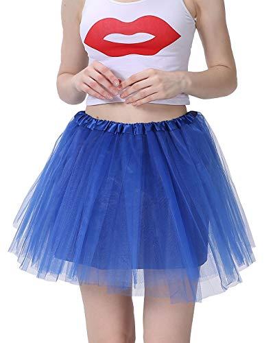 (Women's Classic 4 Layered Tulle Tutu Skirt Royal Blue Satin Lining)