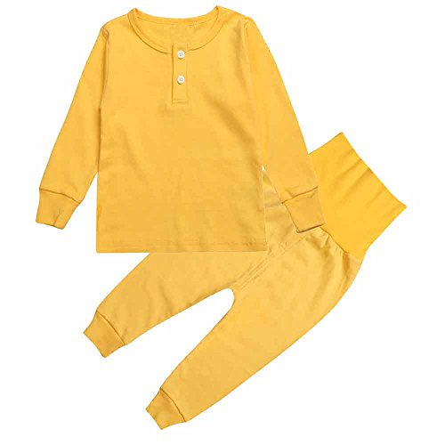 - Mary ye Kids Boy Girl Solid Pink Yellow Pajamas Set 100% Cotton 2Pcs Sleepwear
